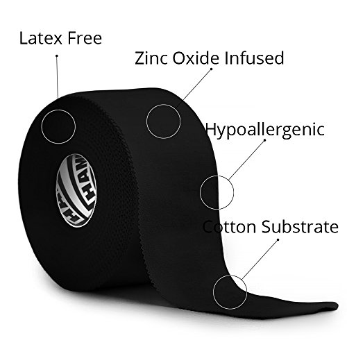 Black Athletic Tape - 45ft per Roll - No Sticky Residue & EasyTear Technology - for Sports Athletes, Trainers & First Aid Injury Wrap: Fingers Ankles Wrist - 1.5 inch x 15 Yards per Roll (3-Pack) by Hampton Adams (Image #4)