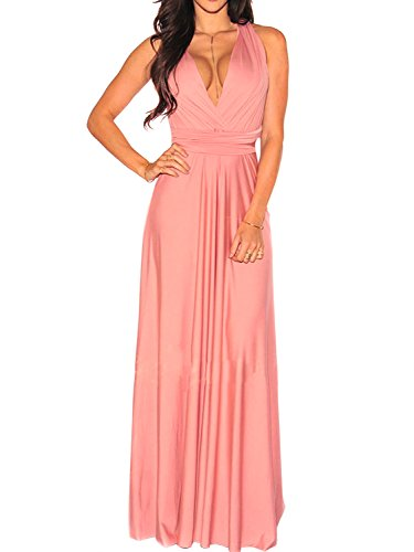 - CHOiES record your inspired fashion Women's Convertible Gown Dress Pink Multi-Way Strap Wrap Convertible Maxi Dress M