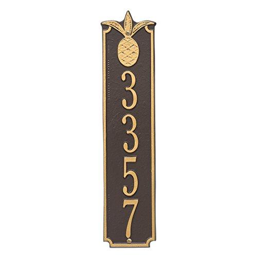 "Custom Pineapple VERTICAL Address Plaque 4""W x 19""H (1 Line) (Pineapple Whitehall)"