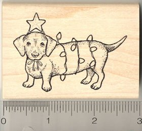 Christmas dachshund with lights rubber stamp for Rubber stamps arts and crafts