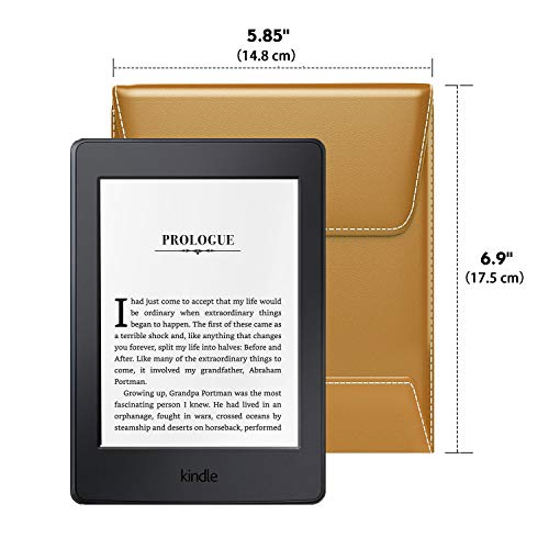 "MoKo 6 Inch Kindle Sleeve Case Fits All-New Kindle Paperwhite 2018/Kindle 10th Generation 2019, Protective PU Leather Cover Bag for Kindle Voyage/Kindle(8th Gen)/Kindle Oasis 6"" E-Reader - Light Brown"