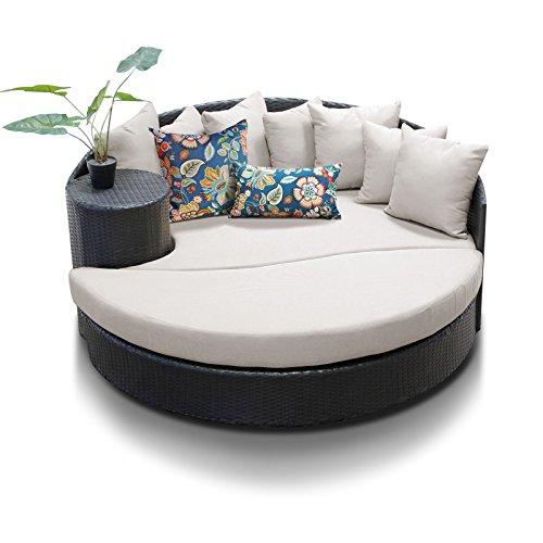Furniture Cabana Outdoor - TK Classics Beige Newport Circular Sun Bed Outdoor Wicker Patio Furniture