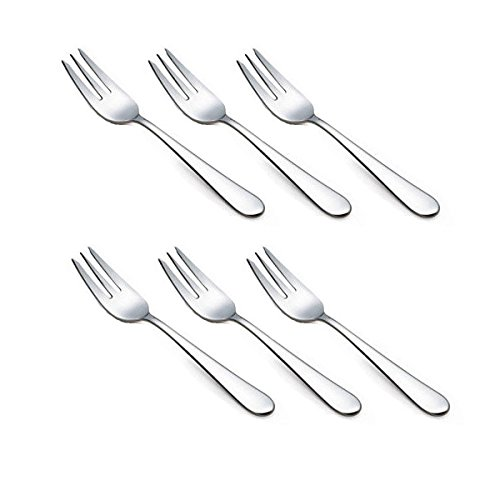 HornTide 6-Piece Dessert Forks Set 3 Tines Fruit Salad Fork Flatware Stainless Steel Mirror Polishing 5.5-Inch 14cm