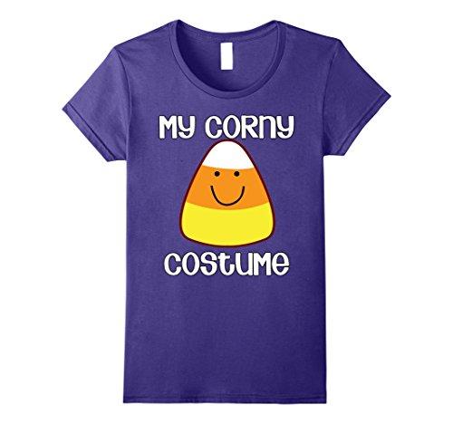 Halloween Costume Ideas Simple Funny (Womens My Corny Costume Simple Halloween Candy Corn T-shirt XL Purple)
