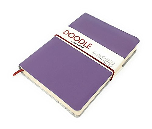 (Artway Doodle - Purple Leather Journal/Sketchbook - 150gsm (92lb) Cartridge Paper - 7 x 5 inch - 82 Pages - Sloe)