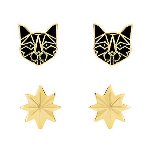 Marvel's Captain Marvel Alien Cat and Hala Star Yellow Gold Plated Stud Earrings Set