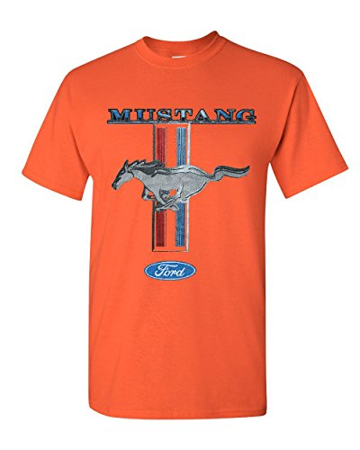 And 1 Cotton T-shirt - Ford Mustang Classic T-Shirt GT Cobra Boss 302 Mach 1 Cotton Tee Orange 2XL