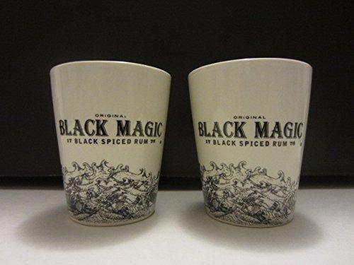 Set of 2 Black Magic Black Spiced Rum Sea Czar Pirate Ship 3D Skull Ceramic Shot Glasses