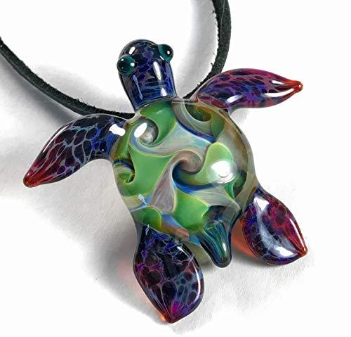 - Baby Sea Turtle Pendant Necklace. Lampwork Glass beads Handmade custom Jewelry