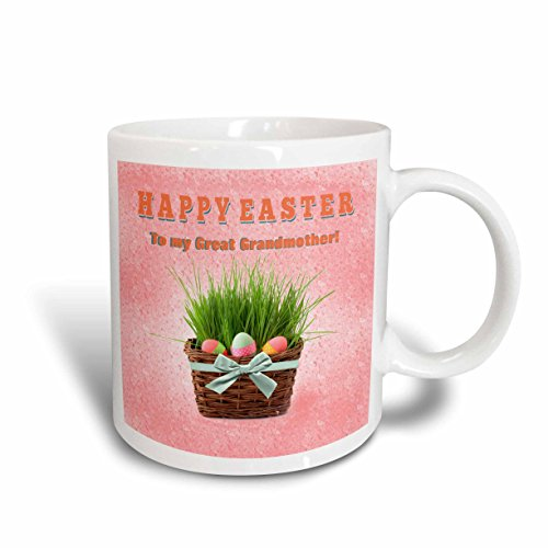 3dRose-Beverly-Turner-Easter-Design-and-Photography-Three-Easter-Eggs-in-Basket-of-Grass-Happy-Easter-Great-Grandmother-Mugs