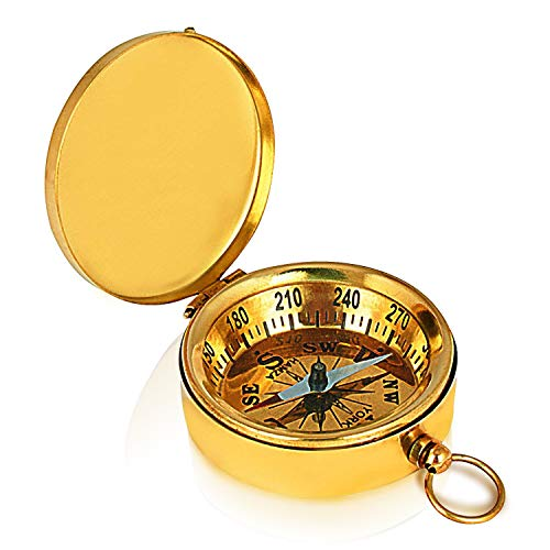 - Unique Birthday Gift Ideas Solid Brass Classic Pocket Size Camping Compass 1.75 Inch Hiking Climbing Biking Hunting Survival Compass Outdoor Navigation Directional Nautical Compass Gifts For Kids