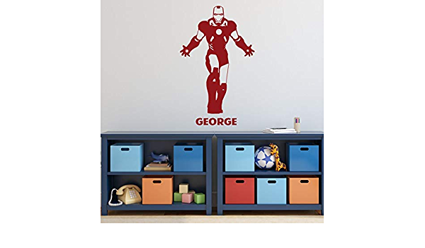 Small Vinyl Decal Stickers for Birthday Party Decorations or Boy Bedroom Large Sizes Avengers Superhero Silhouette with Custom Name Personalized Ironman Wall Decor Light Colors Dark