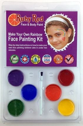 Ruby Red Paint Face Paint, 2ML X 6 Colors - Clam Make Pastel Rainbow ()