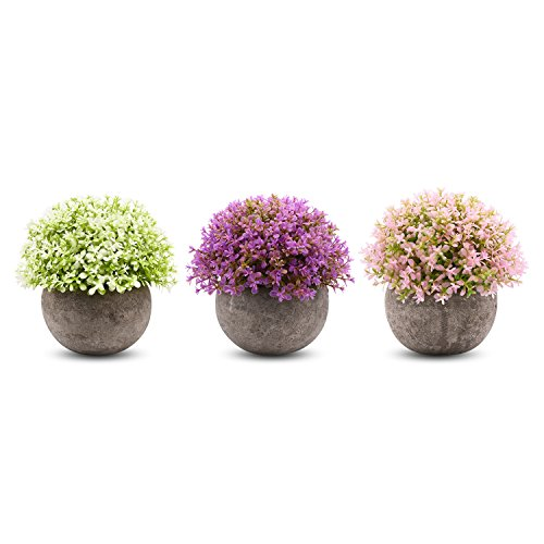 Sunm boutique 3 Pcs Different Potted Plants Faux Green Plant in Different Green Home Indoor Table Decoration