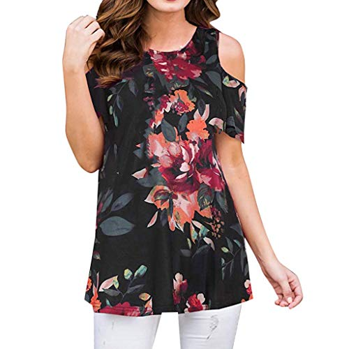 (Women Cold Shoulder Shirts Floral Printing Blouses,Summer Fashion T-Shirt O-Neck Short Sleeve Tunic Crop Tops Sunmoot)