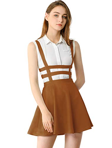 Allegra K Women's Pleated A-Line Elastic Waist Kawaii Braces Mini Suspender Skirt