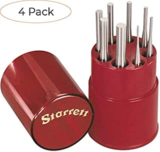 "product image for Starrett S565WB Drive Pin Punch 8-Piece Set, 1/16""-5/16"" Pin Diameters, 4"" Overall Length, In Plastic Case (Four Расk)"