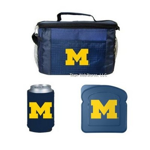 Michigan Lunch Box (NCAA Michigan - Lunch Cooler Set with Sandwich Container and Beverage Insulator | Michigan Wolverines Lunch Set)