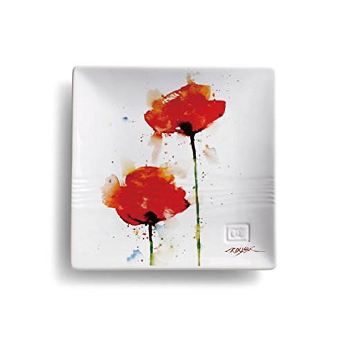 Poppy Flower Watercolor Red On White 7 x 7 Glossy Stoneware Snack Plate