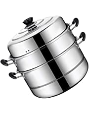 TOPBATHY Stainless Steel Pan 3 Tier Steamer 28cm Steaming Pot Cooking Pot Vegetable Steamer with Lid