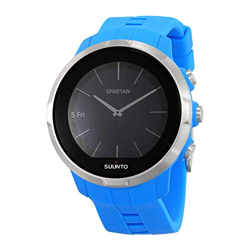 Suunto Unisex Sport Digital Quartz Display Watch, Blue Silicone Band, Round 50mm case ()