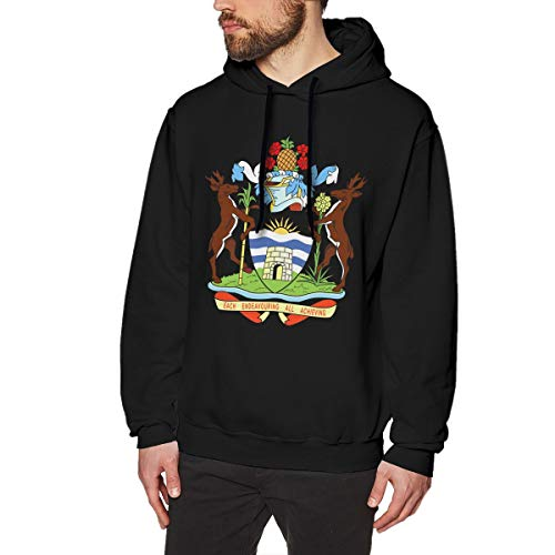 Antigua Ribbed Pullover - X-JUSEN Men's Coat of Arms of Antigua and Barbuda National Emblem Hoodies Sweatshirt Pullover Sweater, Crew Neck Hooded Jumpsuits Suit