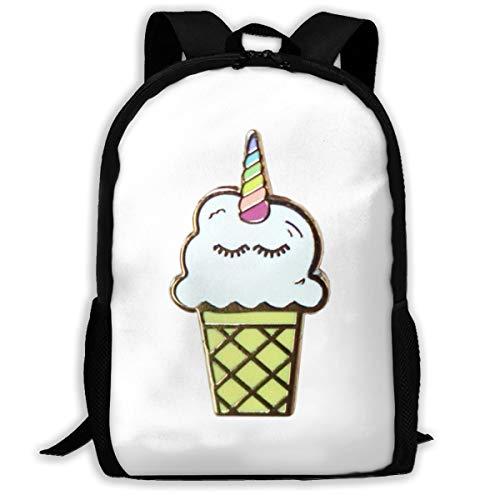 Casual Boys Daypack Backpacks For Middle School Unicorn Ice Cream Pin Travel Laptop Backpack Bookbag For Girls Boys Men Women