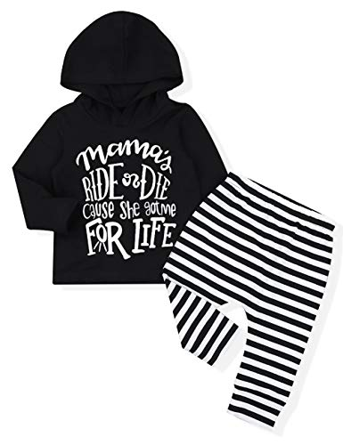 Baby Boy Girl Clothes Long Sleeve Hoodie Sweatshirt with Striped Pants 2Pcs Outfit Set(0-6 Months) Black