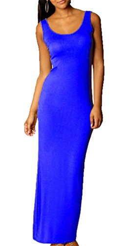 Sleeveless Fit Slim Color Solid Blue Tank Dress Women Bodycon Cromoncent Casual HwYZqY