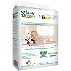 Andy Pandy Biodegradable Bamboo Disposable Diapers, 50 Count