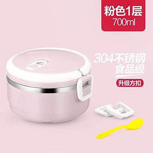 Luckyfree Mittagessen Behälter aus rostfreiem Stahl 304 mit Fächern Mikrowelle Bento Box für Studierende Erwachsene Kinder das Essen bei einem Picknick Behälter aus rostfreiem Stahl, 304 Pink Single Layer 700 ml