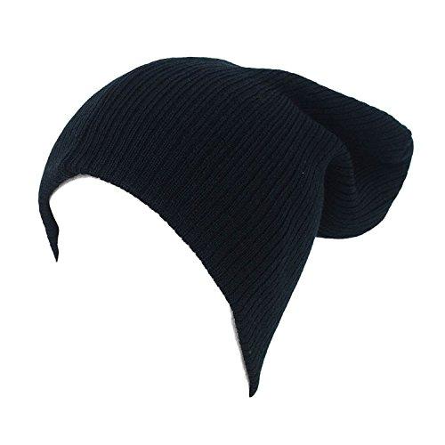 Mujer única Llano talla Gorro Sombrero Black Beanie Unisex Hombre Skullies wFS0E