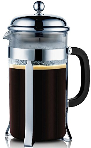 Bruntmor, PLATINUM PRO Special Edition 18/10 Steel 34oz French Coffee Press Non Drip Spout, Non Rust