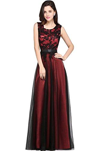 MisShow Elegant O Neck Black Lace Maxi Formal Dresses for Women Evening 6 US