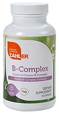 Zahler B Complex, All Natural Supplement Supporting Energy Production, #1 Pure and Potent B Complex Formula Containing all 8 Essential B Vitamins, Certified Kosher