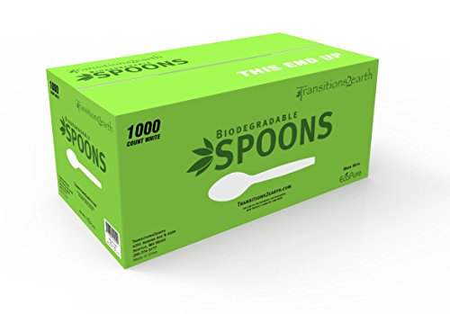 Transitions2earth Biodegradable EcoPure Economy LIGHTWEIGHT Spoons - Box of 1000 - Plant a Tree with Each Item Purchased!