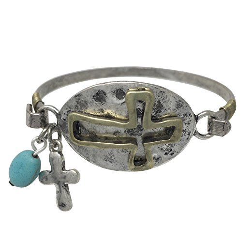Chunky Vintage Wood (Artesian Look Mixed Metals with Charm Hook Bangle Bracelet (Sideways Cross))