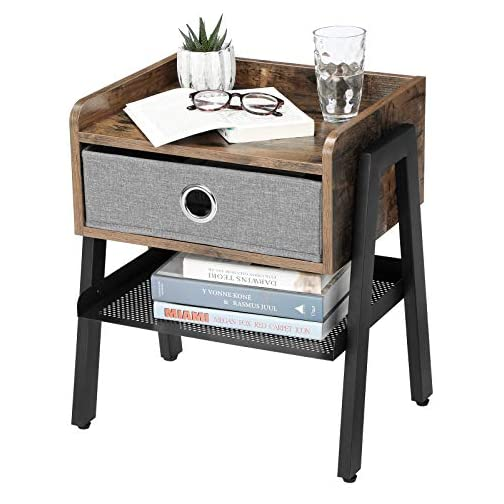 VASAGLE Industrial Nightstand, End Table with Metal Shelf, Side Table for Small Spaces, Wood Look Accent Furniture with…