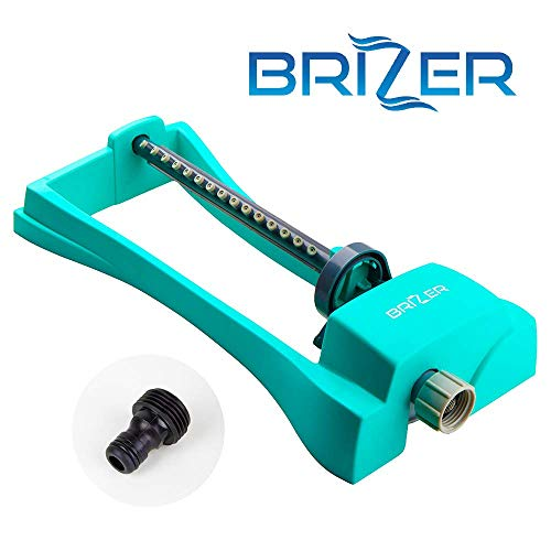 Brizer Oscillating Sprinkler, Waters up to 3,000 sq. ft. Heavy Base, Heavy Duty, 2-Way Adjustable Spray for Watering Garden, Lawn and Yard