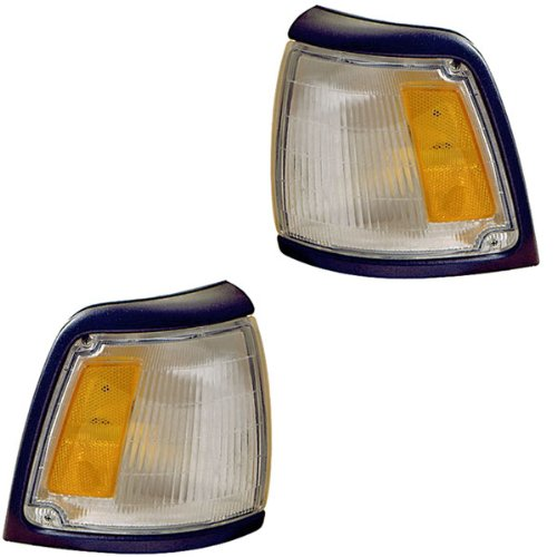 1992-1995 Toyota Pickup Truck 2WD 4x2 (With Gray Trim, Paint to Match) Corner Park Light Turn Signal Marker Lamp Pair Set Right Passenger And Left Driver Side (1992 92 1993 93 1994 94 1995 95)