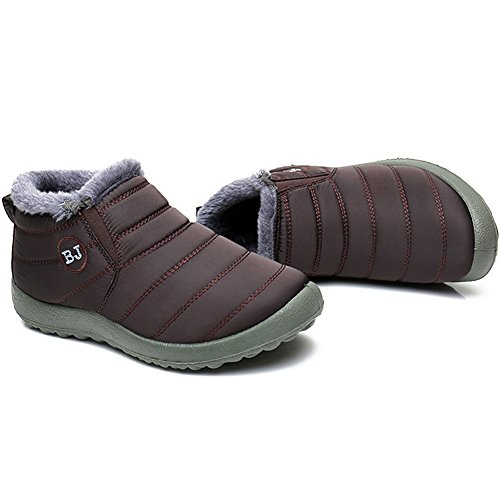 JOINFREE Women's Men's Ankle Snow Booties Winter Warm Slip On Shoes Plush Lining