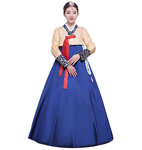 Korean Dance Costume (Lemail wig Women's Korean Traditional Costume Ladies Long Sleeve Classic Hanbok Set)