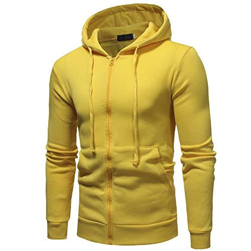 Fit Slim T manica con zip Uomo lunga Casual giallo shirt con Top shirt T Aimee7 cappuccio q4pwfFF