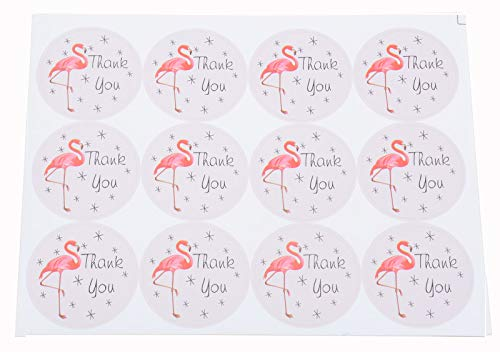Pack of 240 ''Thank You'' Decorative Adhesive Label with Flamingo 1.5'' Personalized Stickers Packaging Seals Crafts Handmade Baked Envelope Label Decorative Sticker(Thank You 240pcs-flamingo)
