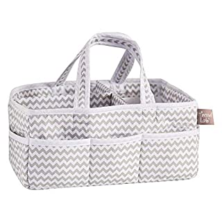Trend Lab Dove Gray Chevron Storage, Nursery, Diaper Caddy - White/Gray (Pack of 3-)
