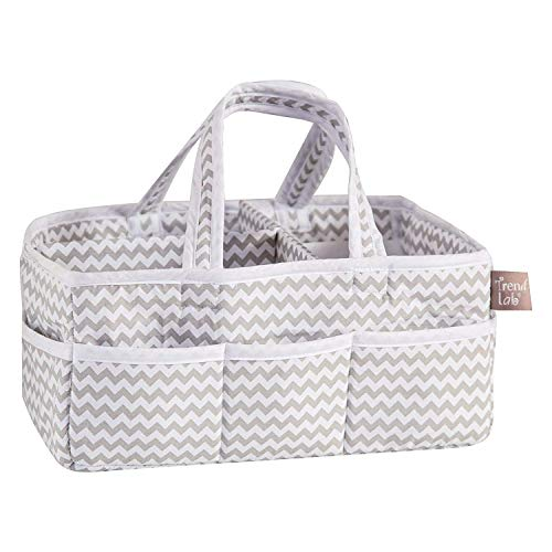 Trend Lab Dove Gray Chevron Storage, Nursery, Diaper Caddy - White/Gray (Pack of 2-)