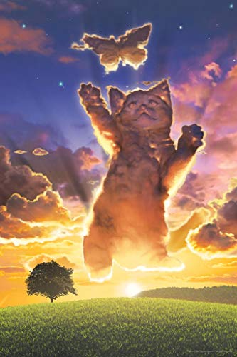 Cloud Kitten Sunset by Vincent HIE Fantasy Art Print Poster 24x36 inch