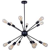 12-Light Sputnik Chandelier Black Ceiling Lighting Metal...