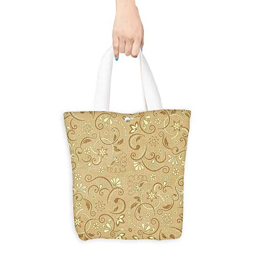 Sterling Swirling Flower Earrings - Foldable Shopping Bag Beige Decor Swirling Elegant Flowers Vintage Style Feminine Floral Motifs Retro Edwardian Art Deco Mode Beige (W15.75 x L17.71 Inch)