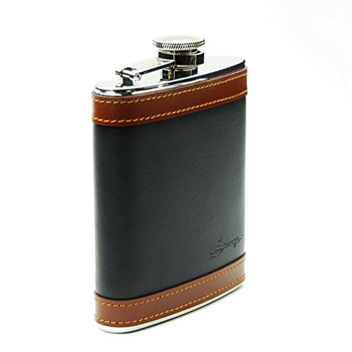 Savage Hip flask 6 oz Wrapped with Black and Brown Leather 18/8 Stainless Steel by Savage